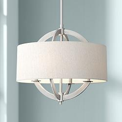 "Possini Euro Saturna 21"" Wide Brushed Nickel Pendant Light"