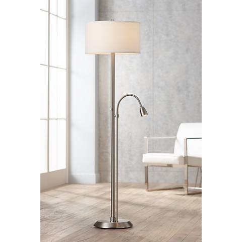 Traverse Floor Lamp with Gooseneck Reading Arm Nickel