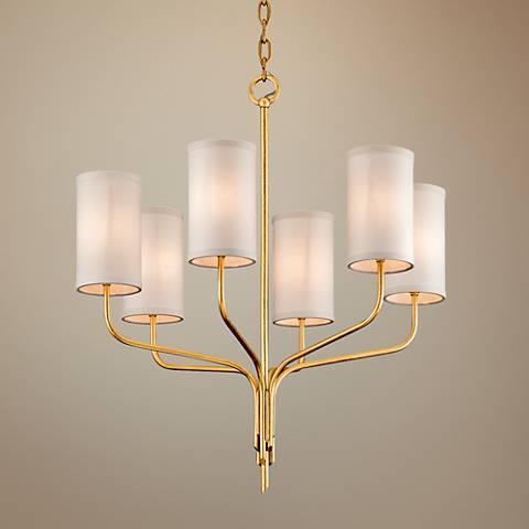 "Juniper 25 1/2"" Wide Textured Gold Leaf 6-Light Chandelier"