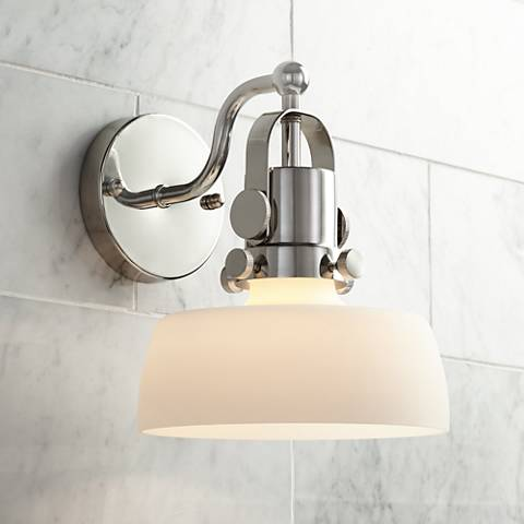"Possini Euro Fella 9 1/2"" High Polished Nickel Wall Sconce"