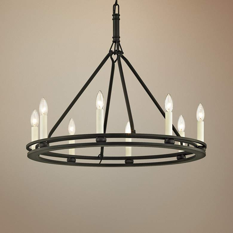 "Sutton 27 1/2"" Wide Textured Black 8-Light Chandelier"