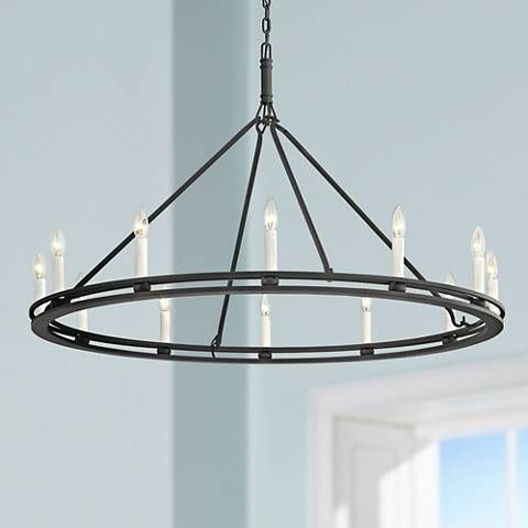 "Sutton 44"" Wide Textured Black 12-Light Chandelier"