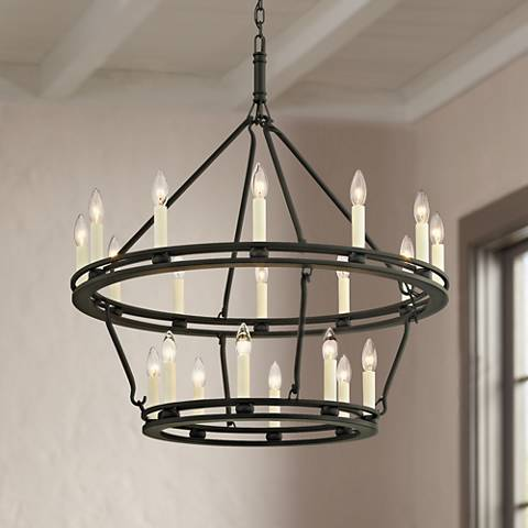 "Sutton 32"" Wide Textured Black 20-Light Chandelier"