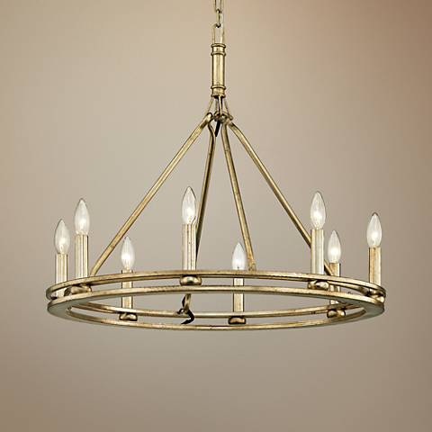 "Sutton 27 1/2"" Wide Champagne Silver Leaf 8-Light Chandelier"