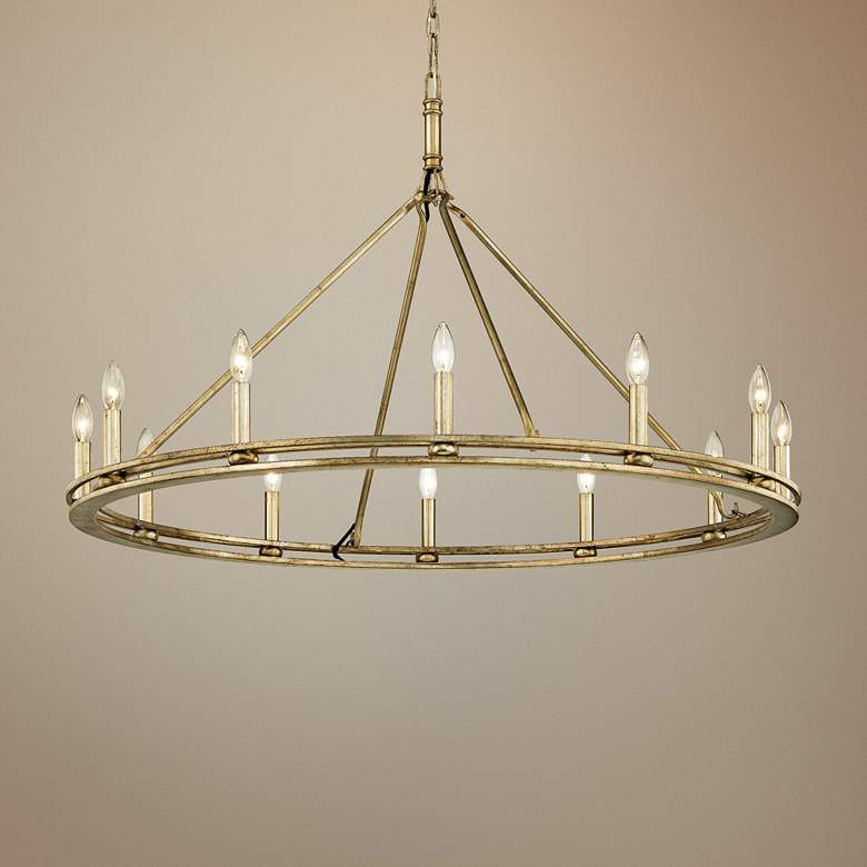 "Sutton 44"" Wide Champagne Silver Leaf 12-Light Chandelier"