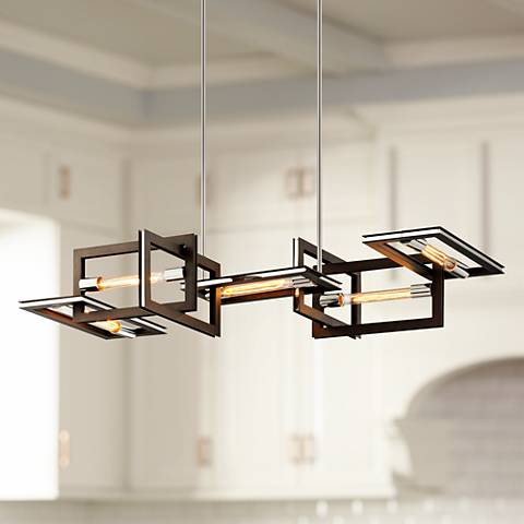 "Enigma 43 1/2"" Wide Bronze 5-Light Island Pendant"
