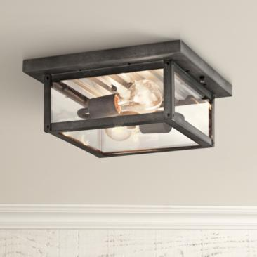 "Wayland 11 1/2"" Wide Weathered Zinc Outdoor Ceiling Light"