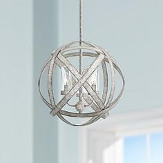 Glass orb chandeliers lamps plus carson 18 12w weathered zinc 3 light outdoor chandelier aloadofball Image collections