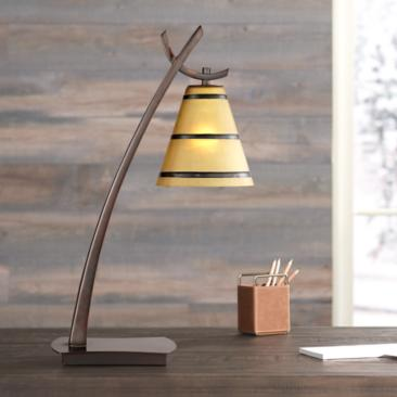 Farmhouse Amber Glass Bronze Finish Desk Lamp