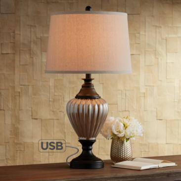 Howard Metal and Glass Table Lamp with USB Port