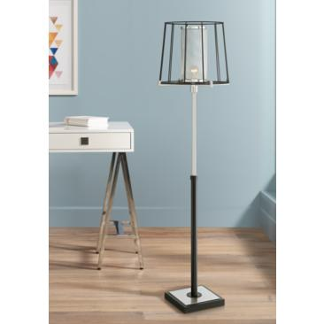 Dixon Brushed Nickel and Black Open Cage Floor Lamp