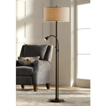 Traverse Floor Lamp with Gooseneck Reading Arm Bronze