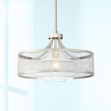 "Luis 18"" Wide Brushed and Polished Nickel LED Pendant Light"