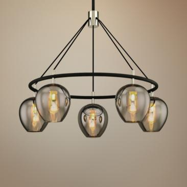 "Iliad 35 1/4"" Wide Carbide Black 5-Light Pendant"