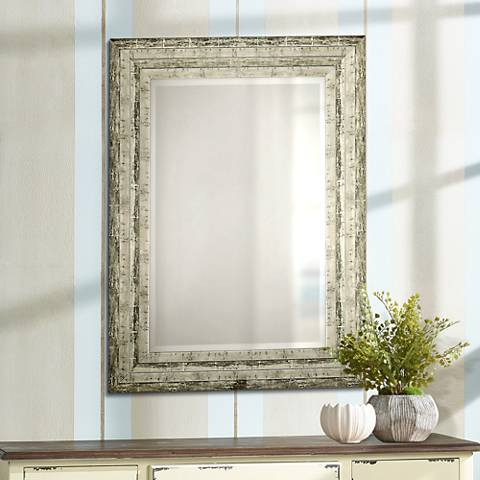 Uttermost Hallmar Distressed Silver 26 X 36 Wall Mirror 45382