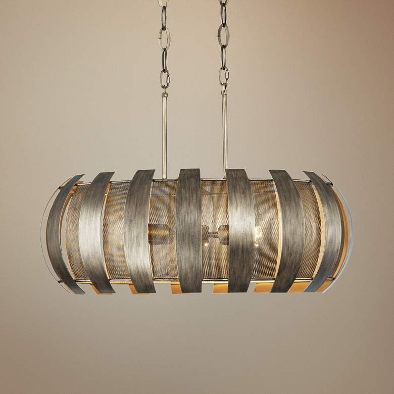 "Varaluz Sawyers Bar 30""W Havana Gold 6-light Island Pendant"