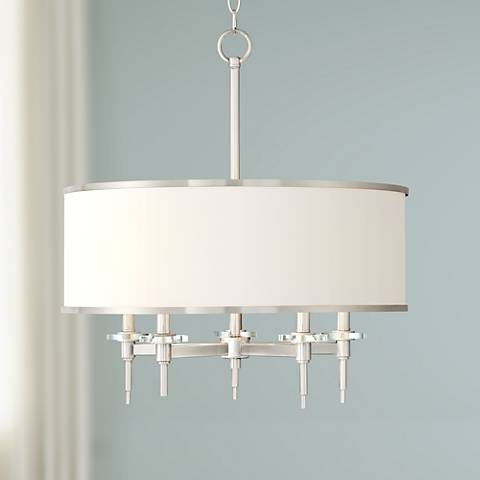 "Greco 23"" Wide Brushed Nickel 5 Light Pendant by Lamps Plus"