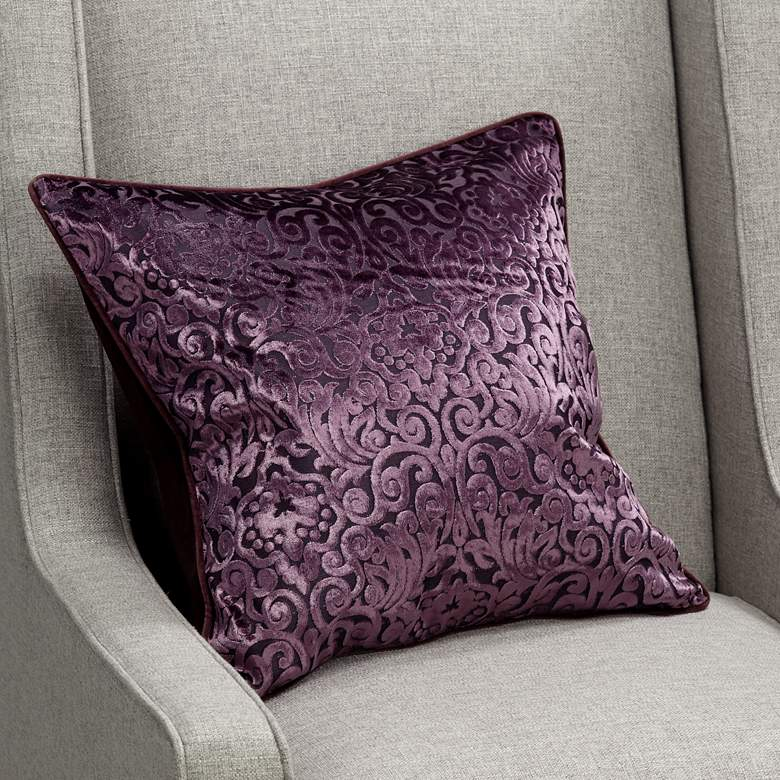"Plum Purple Cut Velvet 20"" Square Throw Pillow"