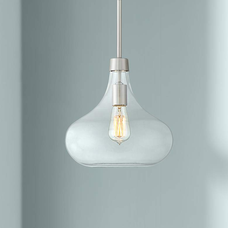 "Possini Euro Cecil 11"" Wide Brushed Nickel Mini Pendant"