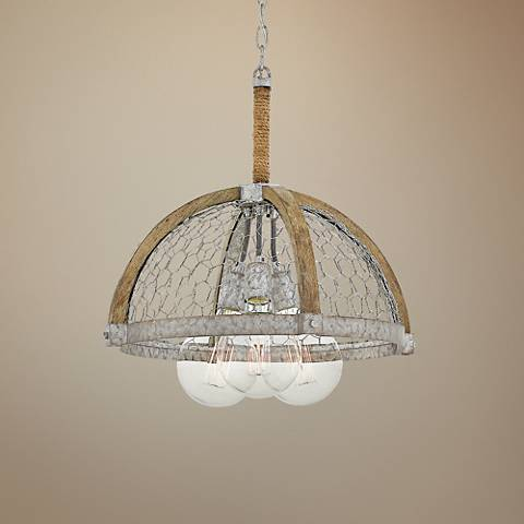 "Hinkley Heywood 19"" Wide Weathered Zinc 3-Light Pendant"