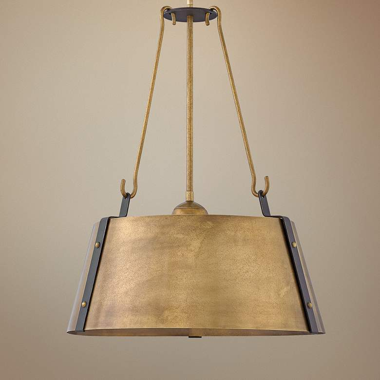 "Hinkley Cartwright 19 1/2"" Wide Rustic Brass Pendant"