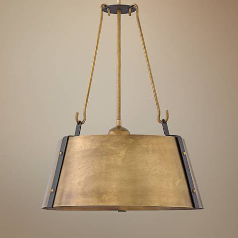 "Hinkley Cartwright 19 1/2"" Wide Rustic Brass Pendant Light"