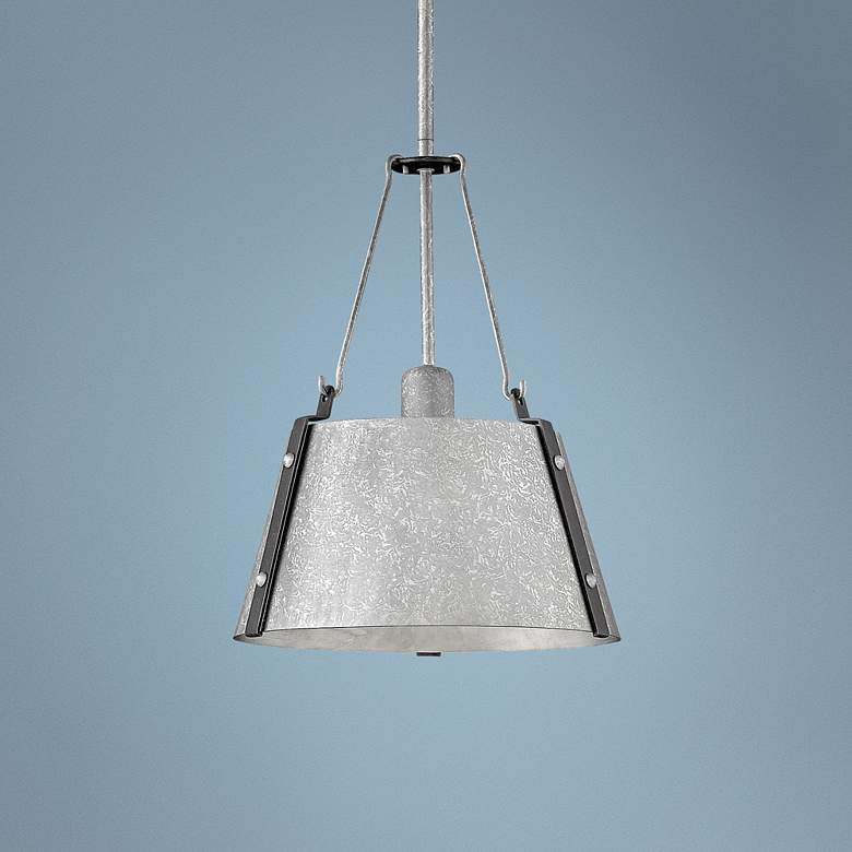 "Hinkley Cartwright 11 1/2"" Wide Galvanized Mini Pendant"
