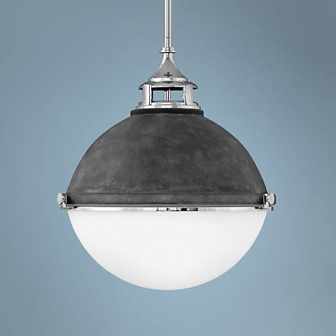 "Hinkley Fletcher 18"" Wide Aged Zinc and Silver Pendant Light"