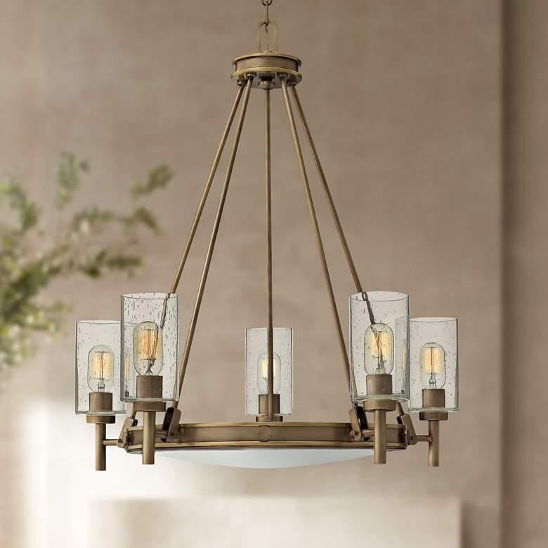 "Hinkley Collier 27""W Light Oiled Bronze 5-Light Chandelier"