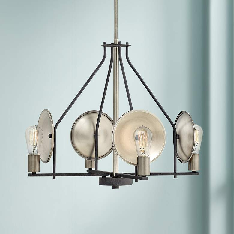 "Hinkley Boyer 24"" Wide Aged Zinc 4-Light Chandelier"