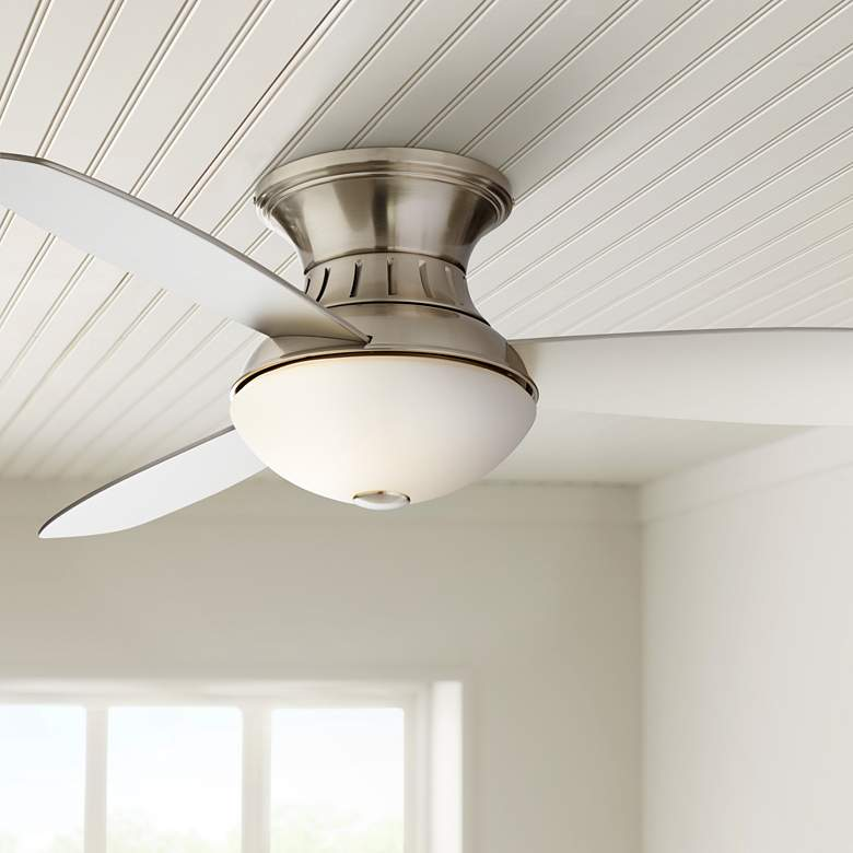 "52"" Possini Euro Brushed Nickel Hugger LED Ceiling Fan"