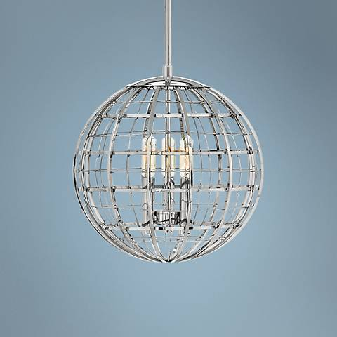 "Hinkley Terra 13"" Wide Polished Nickel 3-Light Pendant"