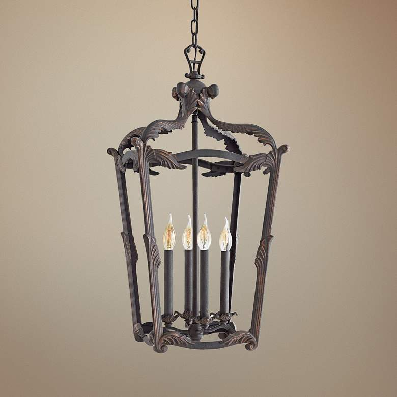 "Hinkley Sorrento 16"" Wide Aged Iron 4-Light Foyer"
