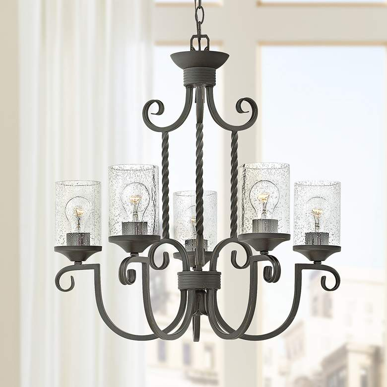 "Hinkley Casa 25"" Wide Olde Black 5-Light Chandelier"