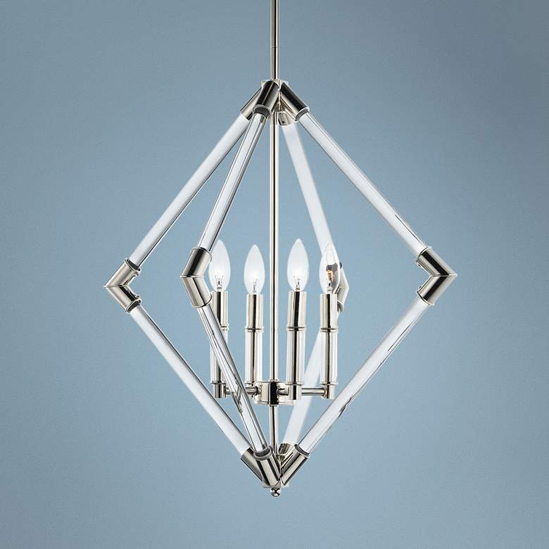 "Maxim Lucent 24"" Wide Polished Nickel 4-Light Pendant"
