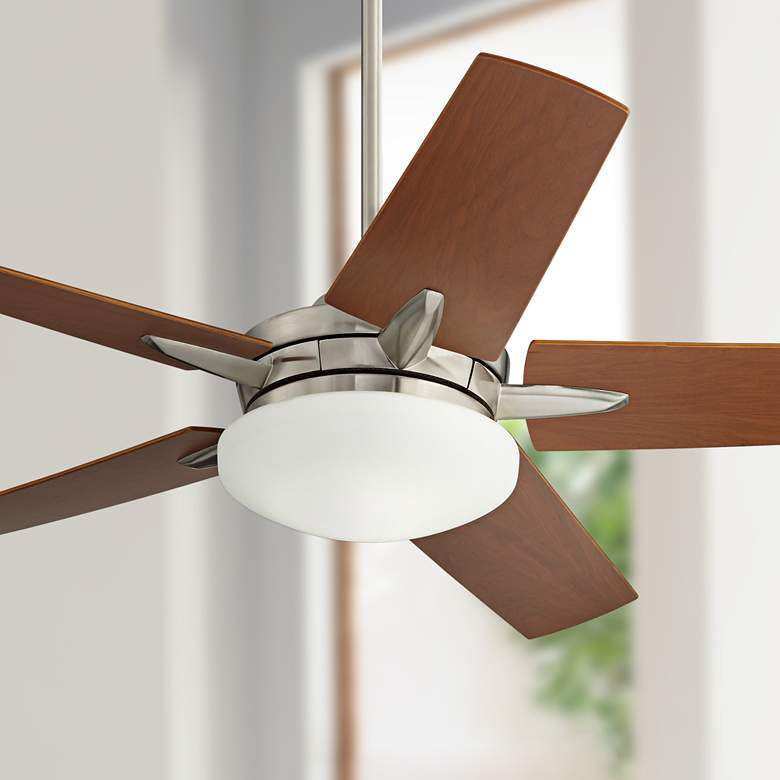 "56"" Casa Endeavor® Nickel Cherry Teak LED Ceiling Fan"