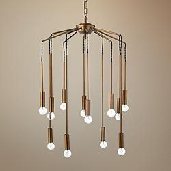 "Jamie Young Cascade 26"" Wide Antique Brass 12-Light Pendant"