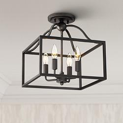 "Elle 13"" Wide Black Open Cage 4-Light Ceiling Light"