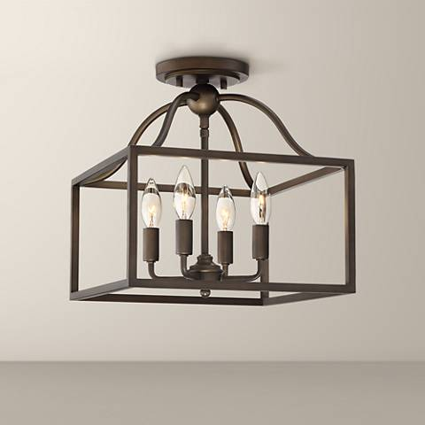 "Elle 13"" Wide Bronze Open Cage 4-Light Ceiling Light"