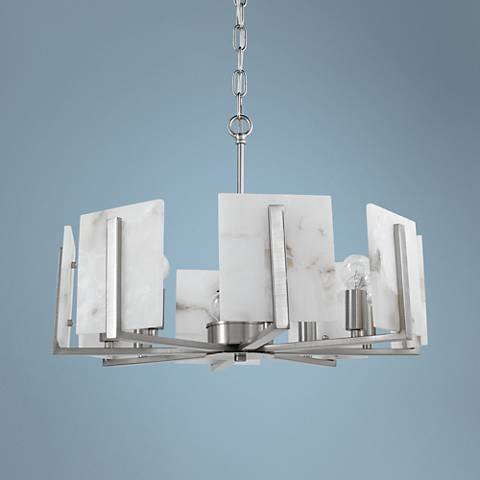 "Halo 21""W Brushed Silver and Alabaster 8-Light Chandelier"