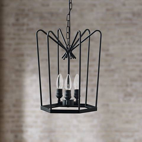 "Hirondelle 12"" Wide Black Iron 3-Light Mini-Chandelier"