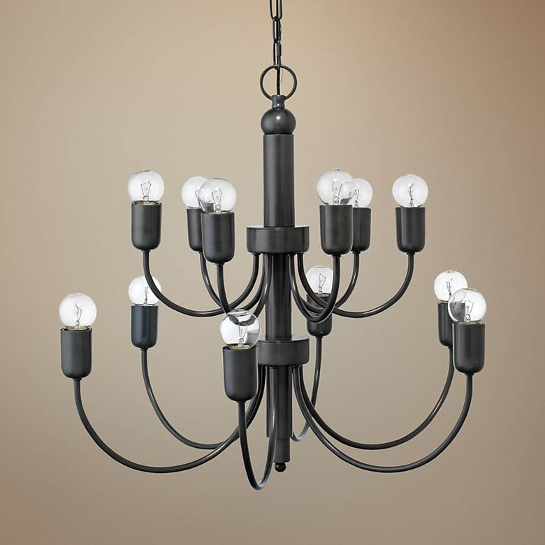 "Jamie Young Savoy 25"" Wide Oiled Bronze 12-Light Chandelier"