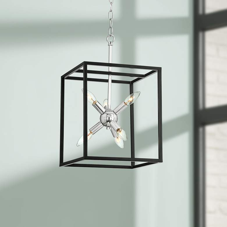 "Rockford 12"" Wide Black and Polished Nickel 6-Light Pendant"
