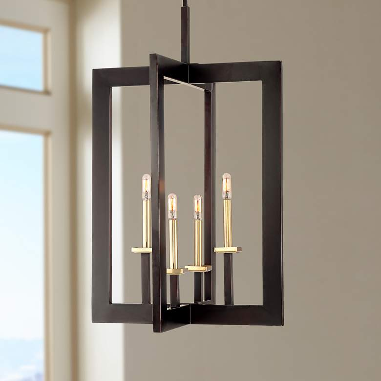 "Haven 20 1/4""W Bronze and Warm Brass 4-Light"