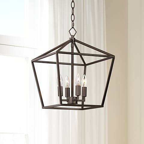 "Queluz 13"" Wide Bronze 4-Light Entry Pendant"