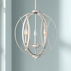 "Possini Euro Spherical 16""W Brushed Nickel 3-Light Pendant"