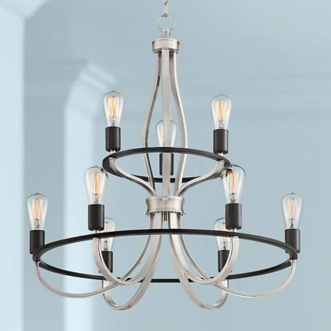 "Spar 27 1/4"" Wide Satin Nickel and Bronze 9-Light Chandelier"