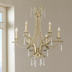 "Josephine 26 1/4"" Wide Silver Leaf 6-Light Chandelier"