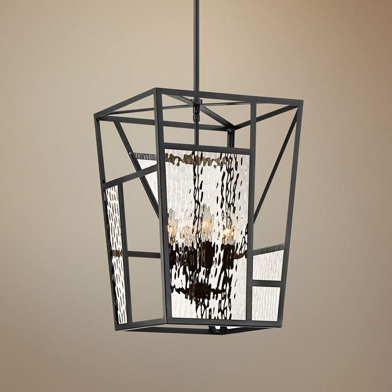 "Sassa 13"" Wide Black Nickel 4-Light Entry Pendant"