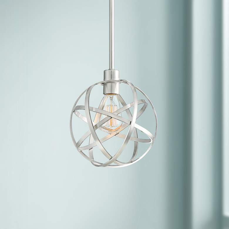 "Industrial Atom 8"" Wide Brushed Nickel Orb Mini Pendant"